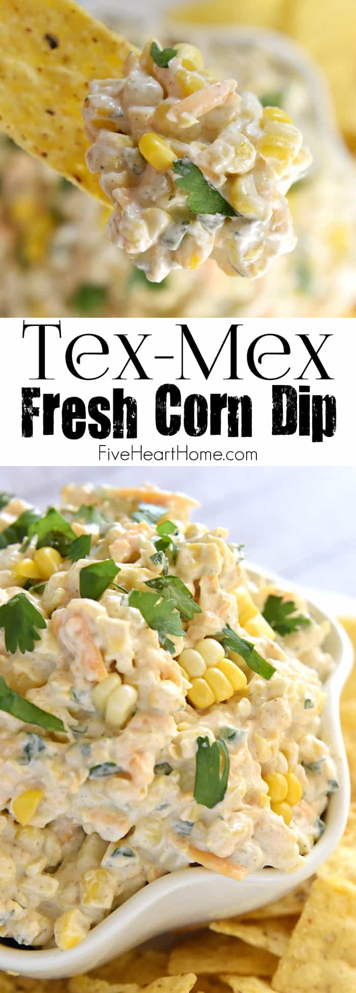 Tex-Mex Fresh Corn Dip ~ creamy, cheesy dip featuring fresh roasted corn, laced with cumin, a touch of jalapeño, and fresh cilantro...the perfect appetizer or snack for any summer cookout or get-together! | FiveHeartHome.com via @fivehearthome