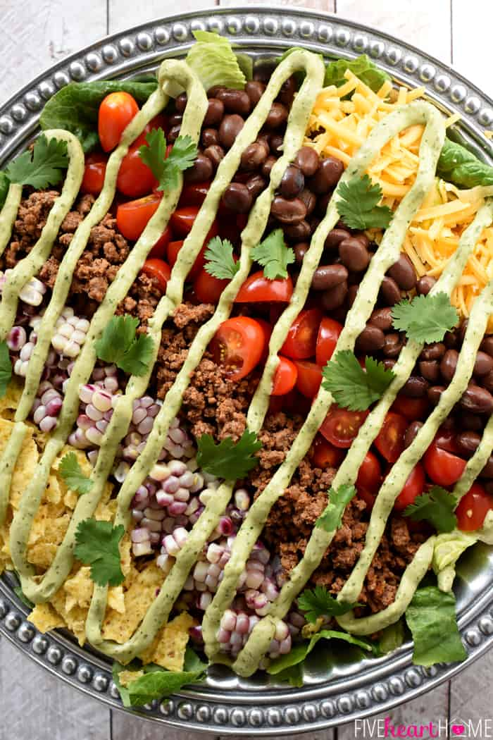 Aerial View of Ultimate Taco Salad Drizzled with Avocado Ranch Dressing