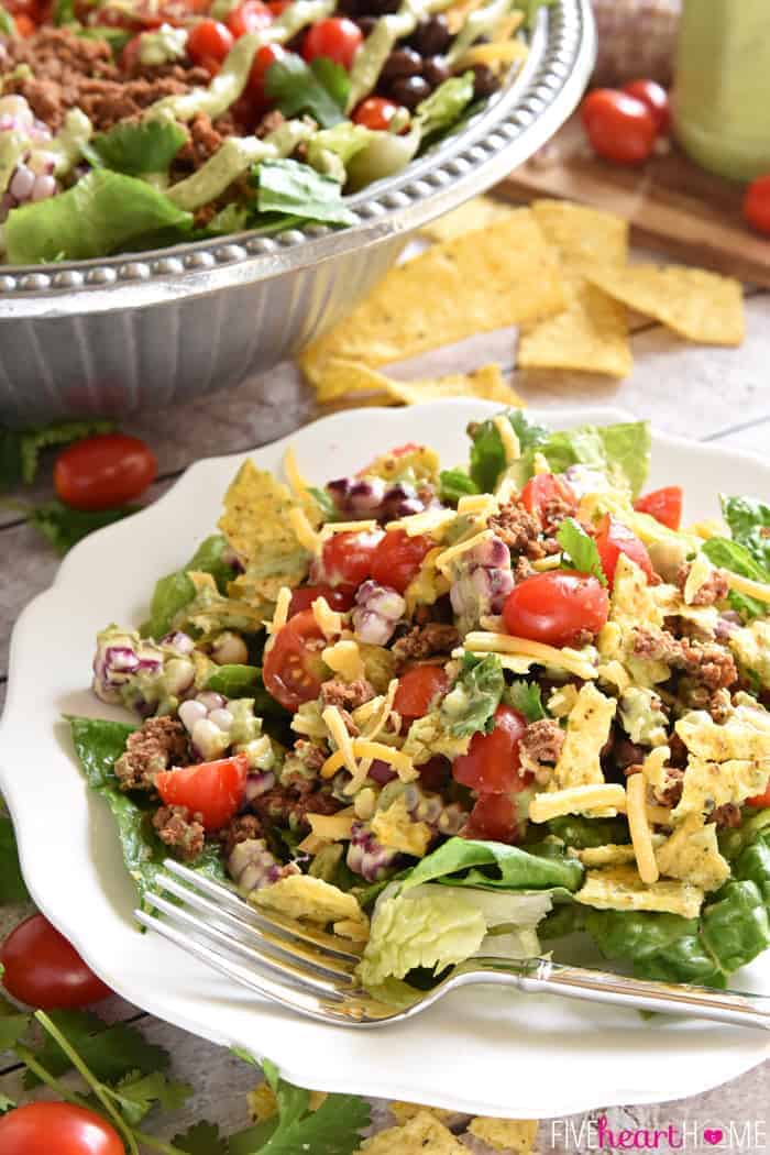Ultimate Taco Salad Serving on White Plate with Fork