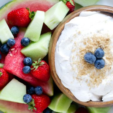 Brown Sugar Fruit Dip ~ a 3-ingredient recipe that's perfect for serving with your favorite fruit as a snack or dessert! | TastesOfLizzyT.com for FiveHeartHome.com