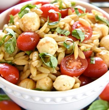 Caprese Orzo Salad in a bowl