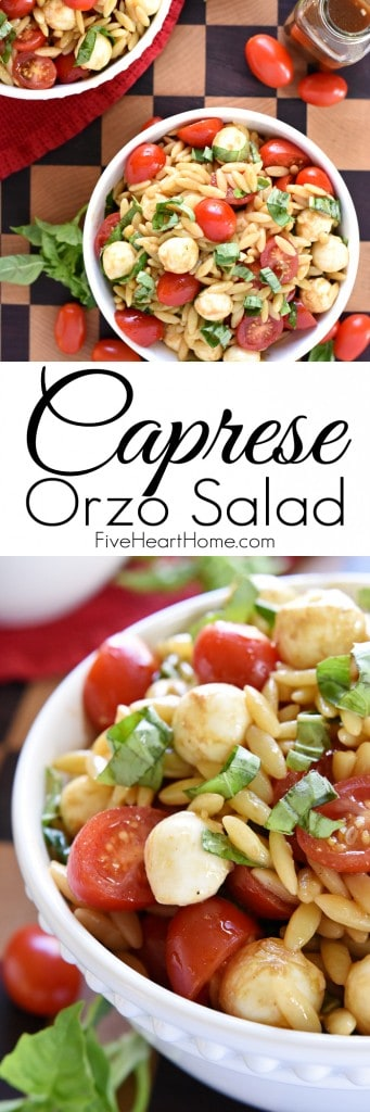Caprese Orzo Salad Collage with Text Overlay
