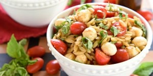 Caprese Orzo Salad ~ a vibrant summer pasta salad featuring juicy tomatoes, creamy balls of mozzarella, and ribbons of fresh basil, all topped off with a flavorful balsamic vinaigrette! | FiveHeartHome.com