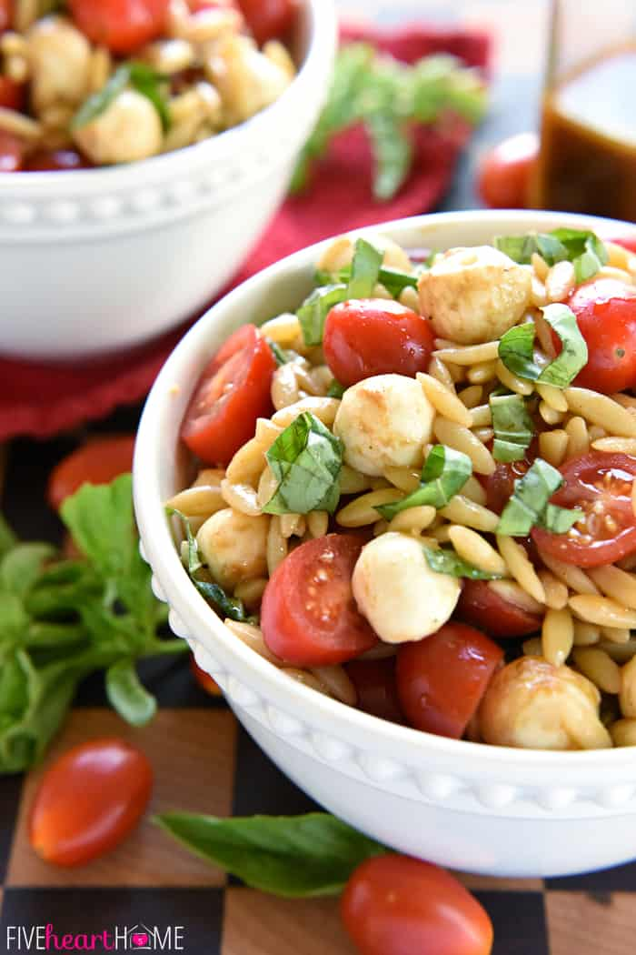 Close-Up of Caprese Orzo Salad