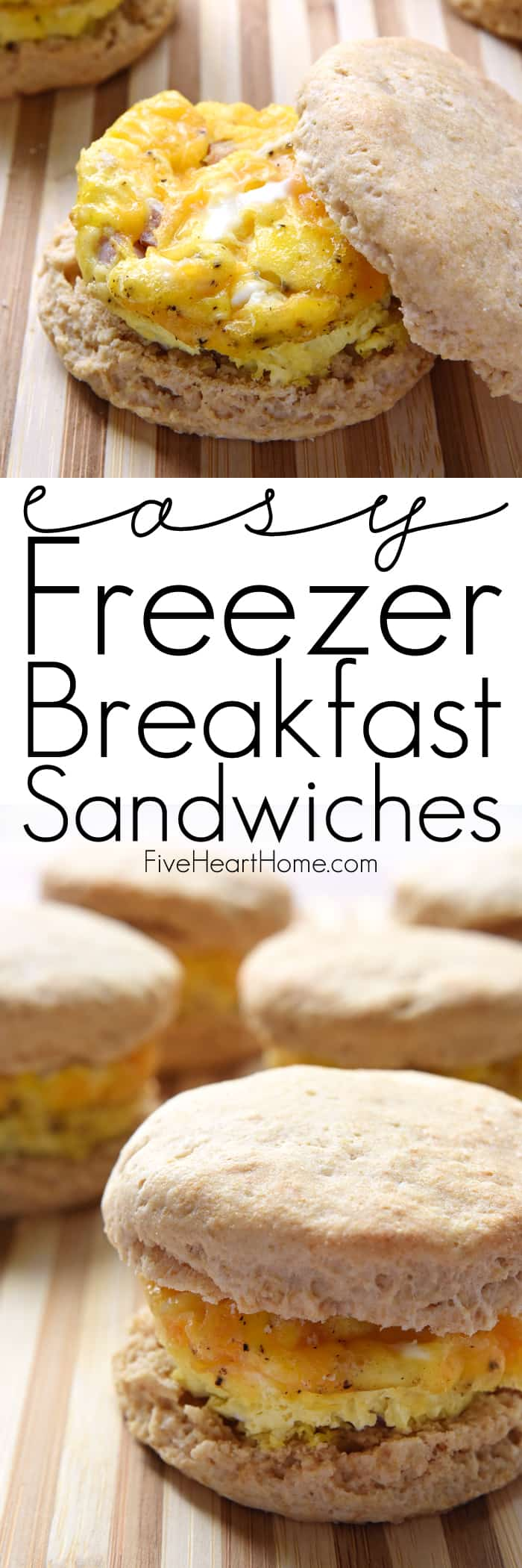 Easy Freezer Breakfast Sandwiches with Collage and Text Overlay