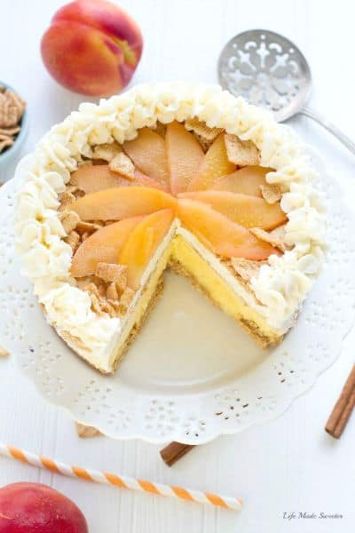 Peach Cobbler Ice Cream Cake with Cinnamon Toast Crunch Crust