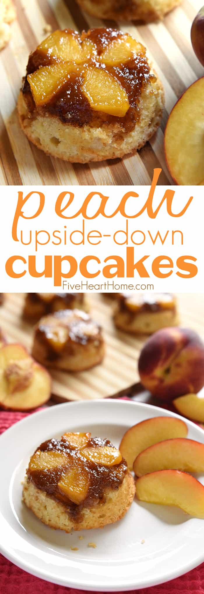 Peach Upside-Down Cupcakes Collage with Text Overlay