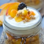 Peach Yogurt Parfaits ~ layered with fresh, juicy peaches, honey-sweetened Greek yogurt, and granola for a healthy summer breakfast or snack! | LifeMadeSweeter.com for FiveHeartHome.com