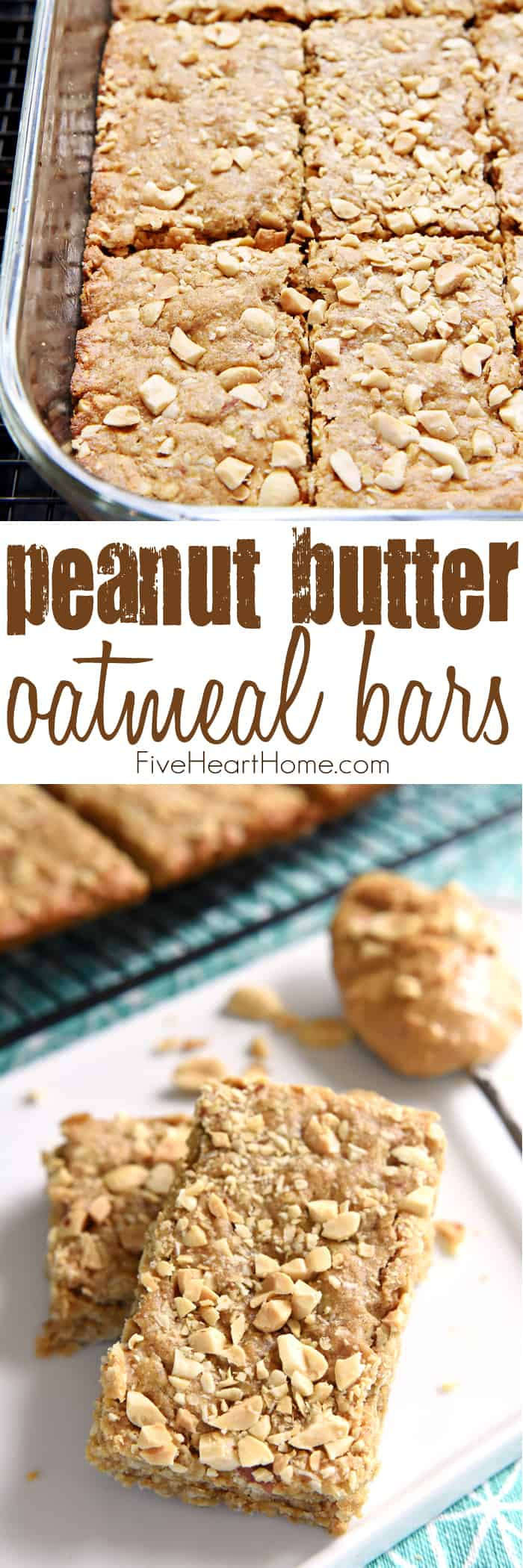 Peanut Butter Oatmeal Bars Collage with Text Overlay