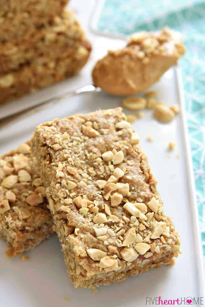 Peanut Butter Oatmeal Bars ~ loaded with wholesome oatmeal and whole ...