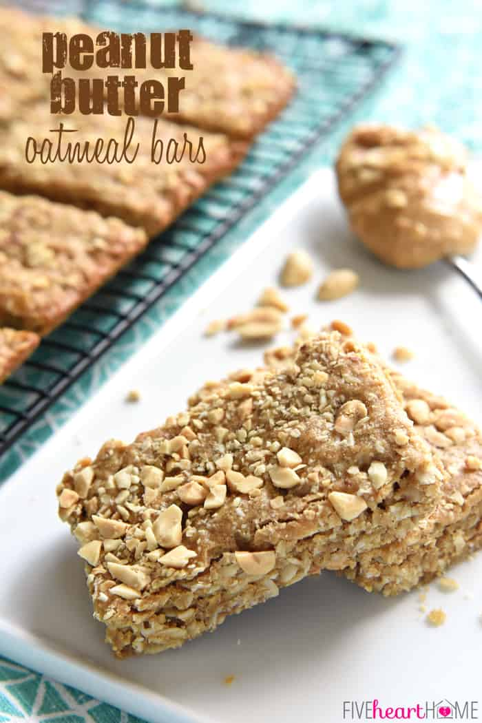 Peanut Butter Oatmeal Bars with Text Overlay