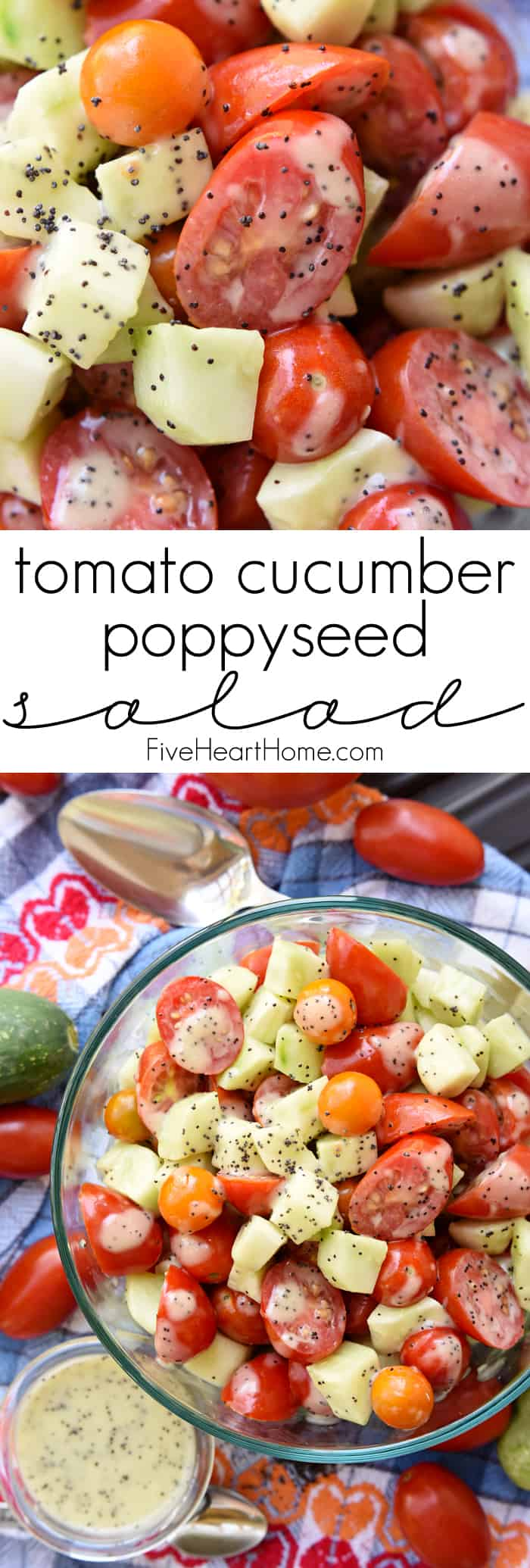 Tomato Cucumber Poppyseed Salad Collage with Text Overlay