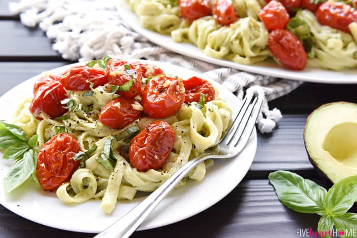 Avocado Fettuccine with Roasted Tomatoes