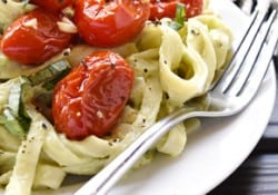 Avocado Fettuccine with Roasted Tomatoes ~ a savory summer dish featuring al dente pasta coated in a creamy avocado sauce and topped with sweet and garlicky oven-roasted tomatoes and ribbons of fresh basil | FiveHeartHome.com