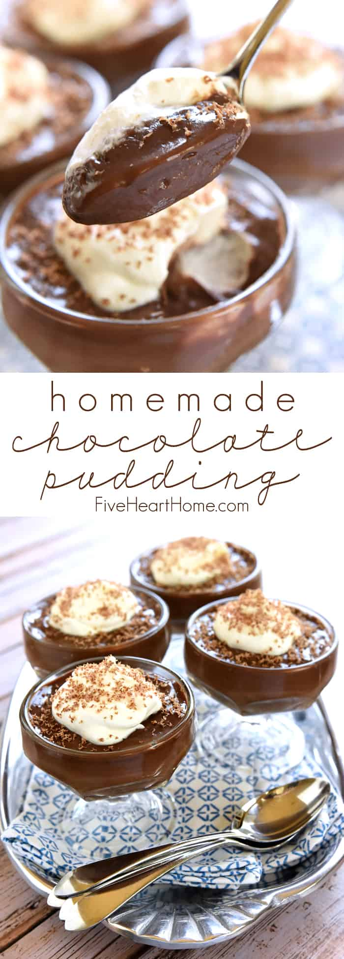 Homemade Chocolate Pudding Collage with Text Overlay