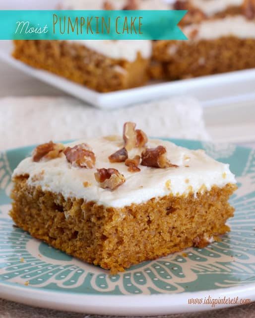 Moist Pumpkin Cake with Cream Cheese Frosting