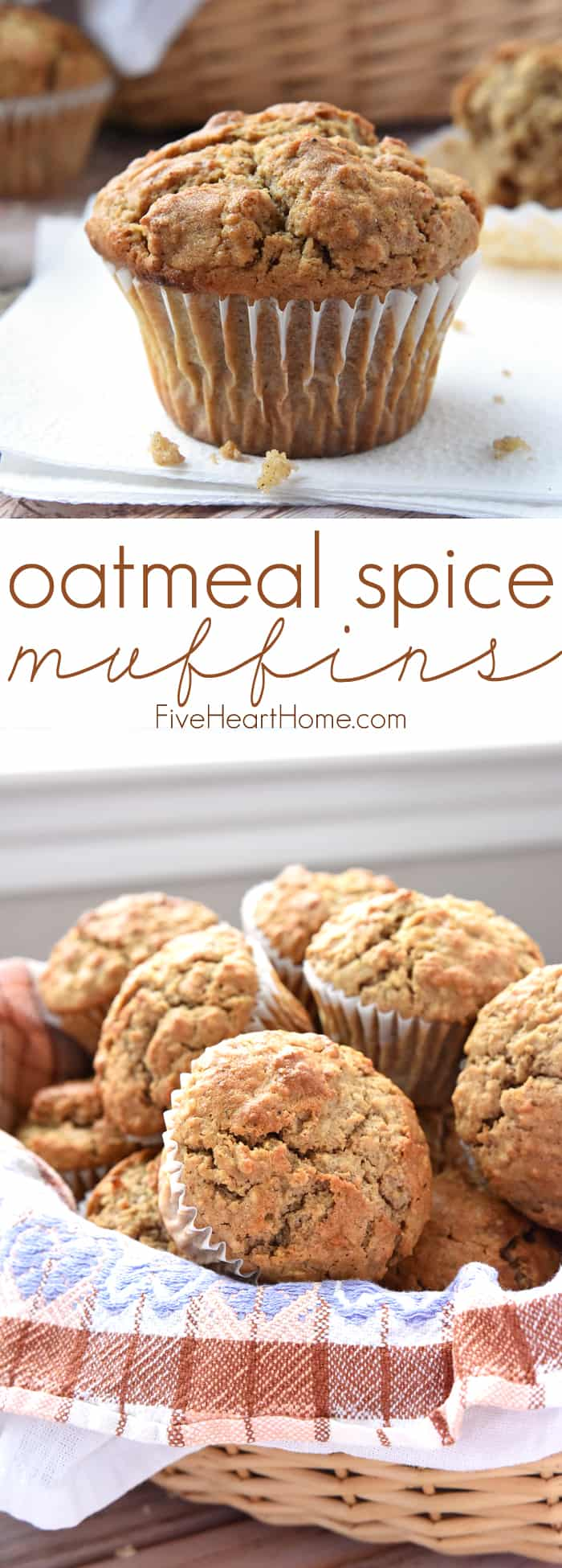 Spiced Oatmeal Muffins ~ perfectly flavored with crunchy tops and pillowy centers, these muffins are a wholesome, delicious breakfast on-the-go or anytime snack! | FiveHeartHome.com