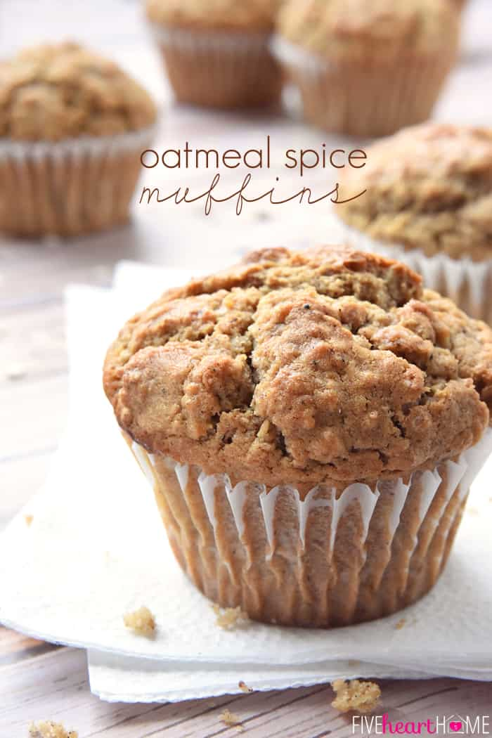 Spiced Oatmeal Muffins with text overlay