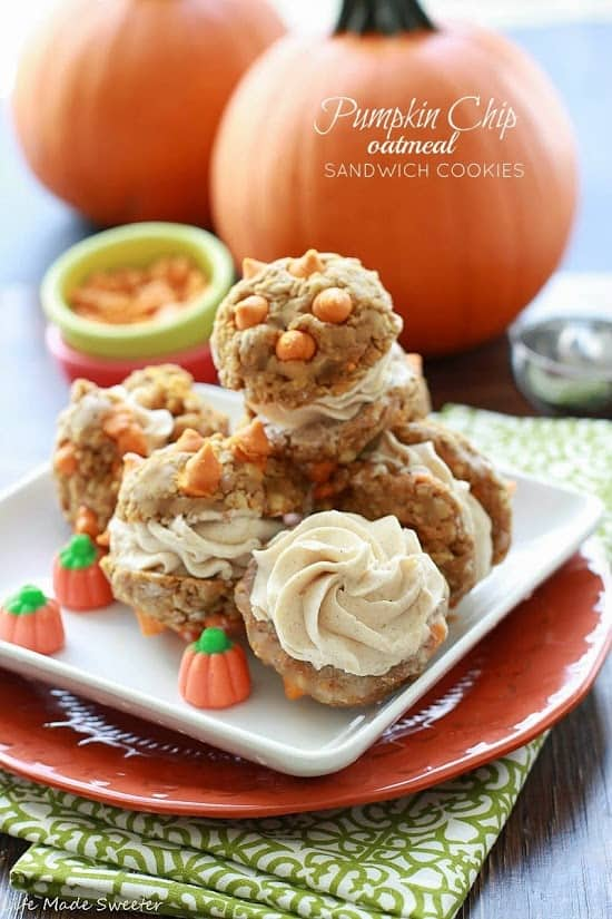 Pumpkin Chip Oatmeal Sandwich Cookies