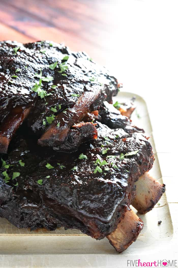 Crock Pot Ribs on a cutting board, ready to eat