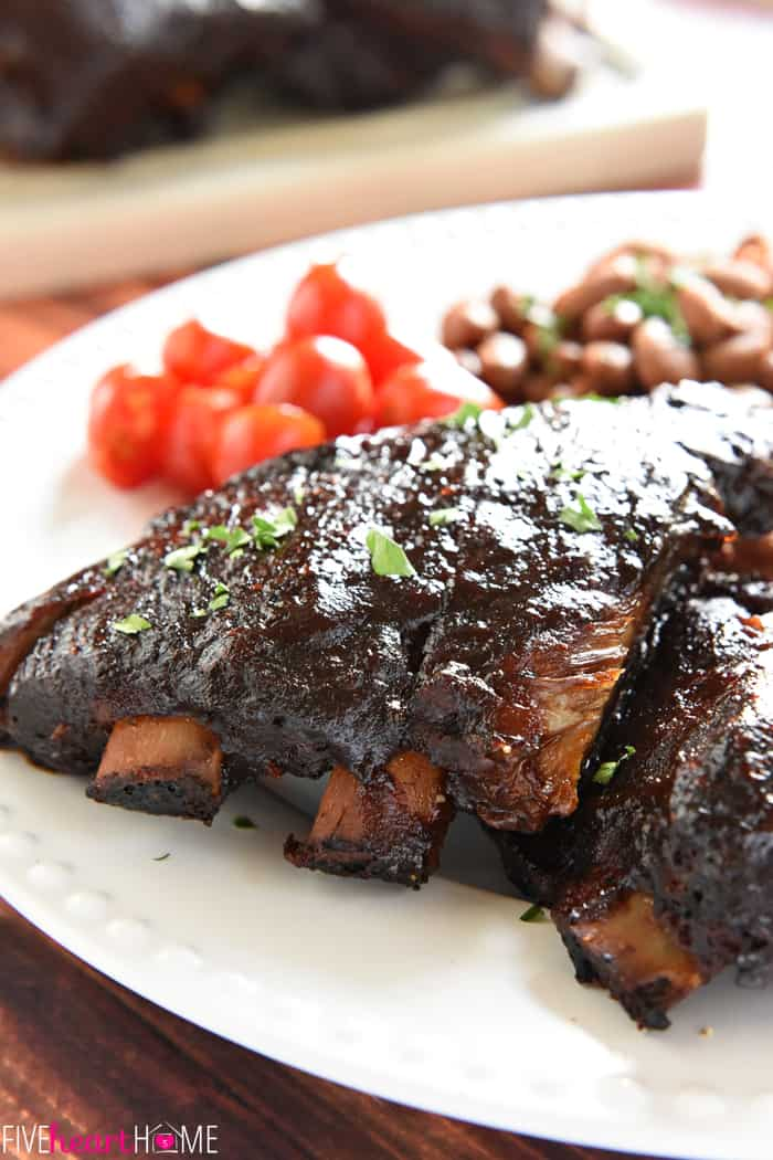 Slow Cooker Baby Back Ribs ~ sticky, smoky, and fall-apart delicious...nobody will ever believe that they came out of the crock pot! | FiveHeartHome.com