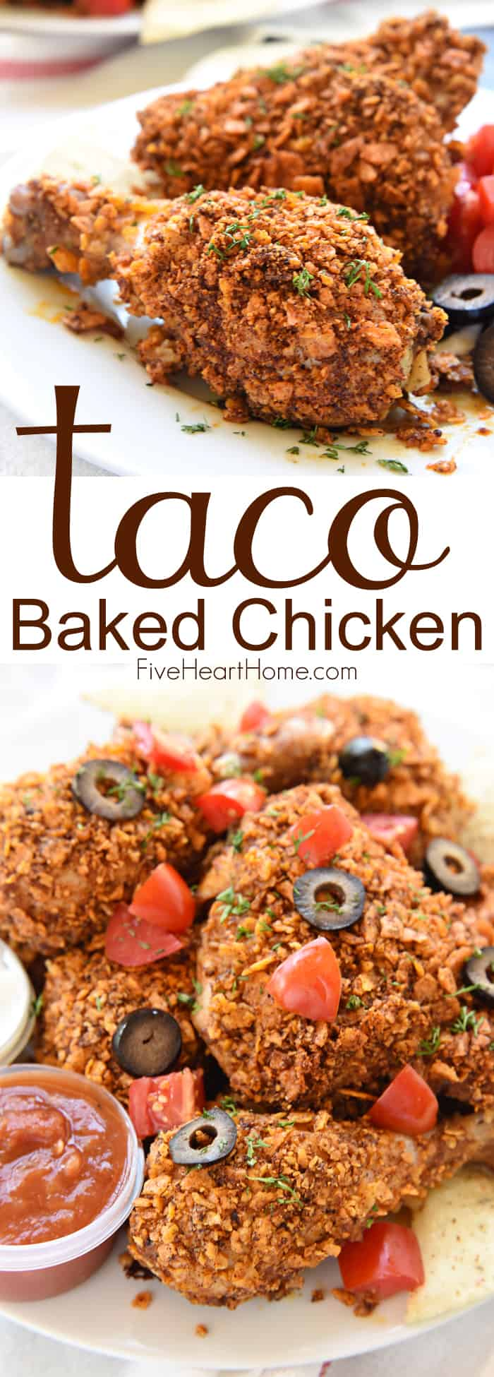 Taco Baked Chicken ~ tender and juicy on the inside with a crunchy coating of taco-seasoned tortilla chips, this Tex-Mex twist on baked chicken is a simple and delicious dinner for any night of the week! | FiveHeartHome.com