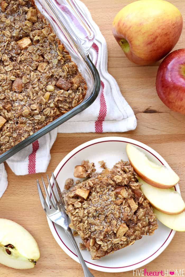 Baked Apple Oatmeal on a table, in a dish and on a plate