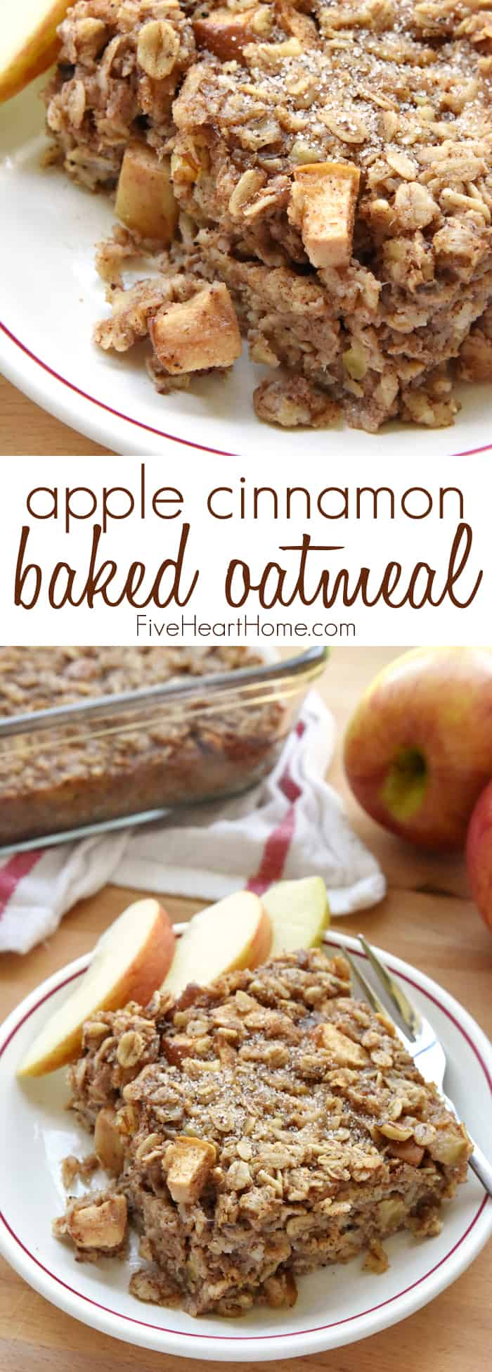 Apple Cinnamon Baked Oatmeal on a plate