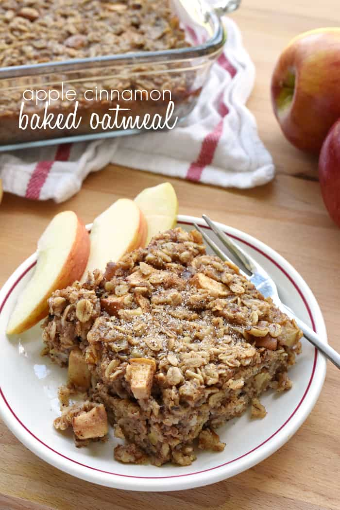 Apple Cinnamon Baked Oatmeal Recipe ~ loaded with tender apples, spiced with warm cinnamon, and lightly sweetened with maple syrup, this wholesome breakfast is sure to become a new fall favorite! | FiveHeartHome.com