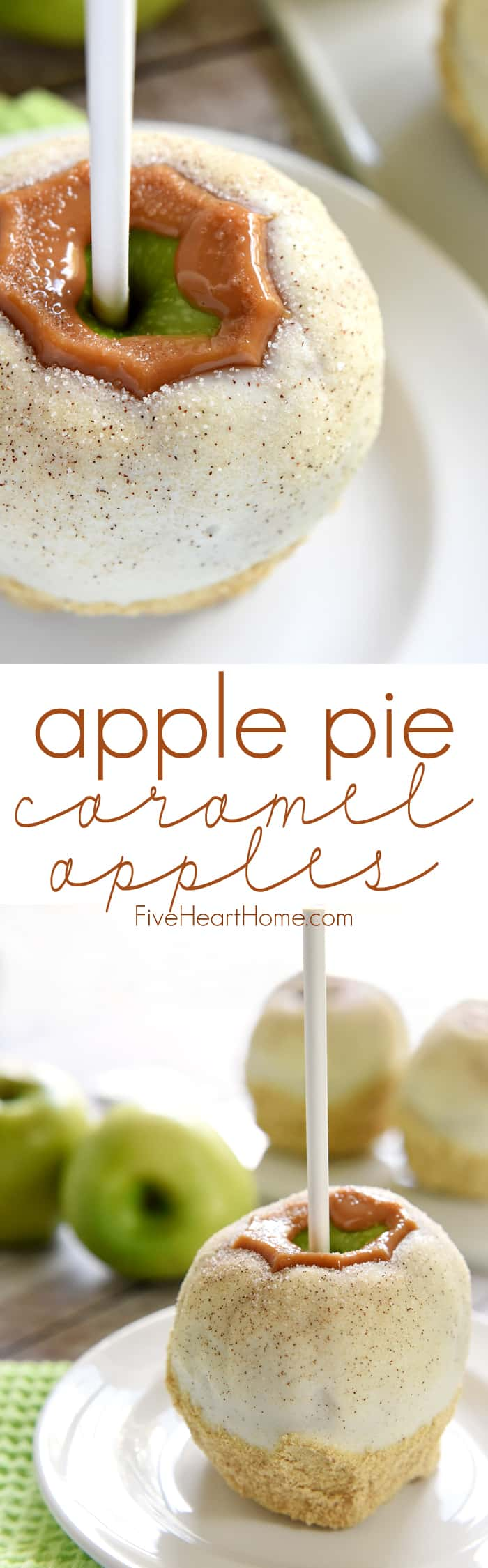 Apple Pie Caramel Apples Collage & Text Overlay