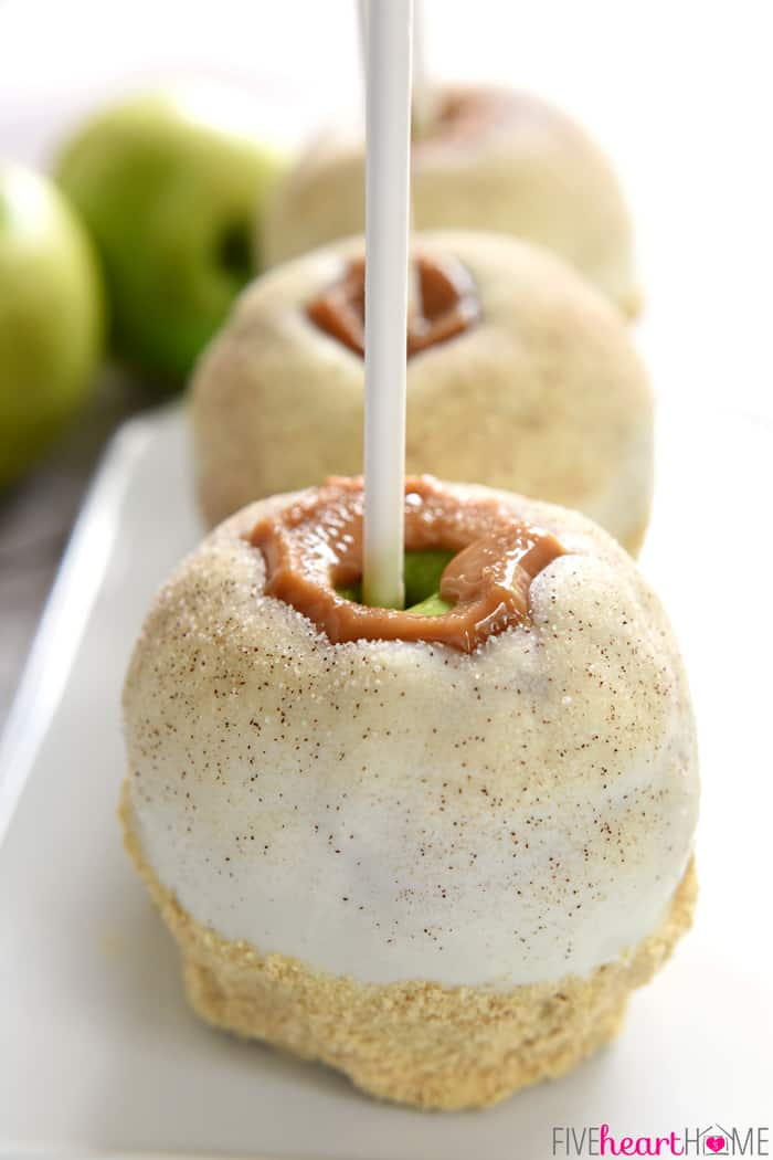 Apple Pie Caramel Apples...Three in a Row on White Platter