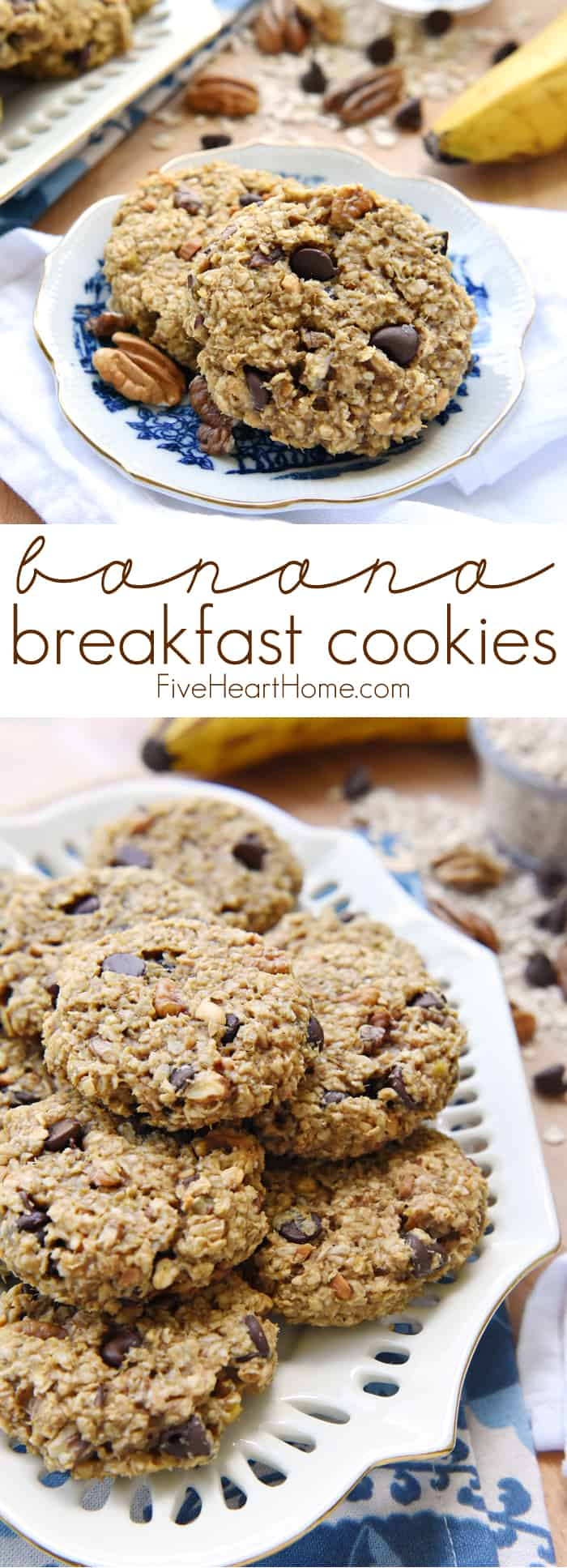 Banana Breakfast Cookies Collage with Text Overly