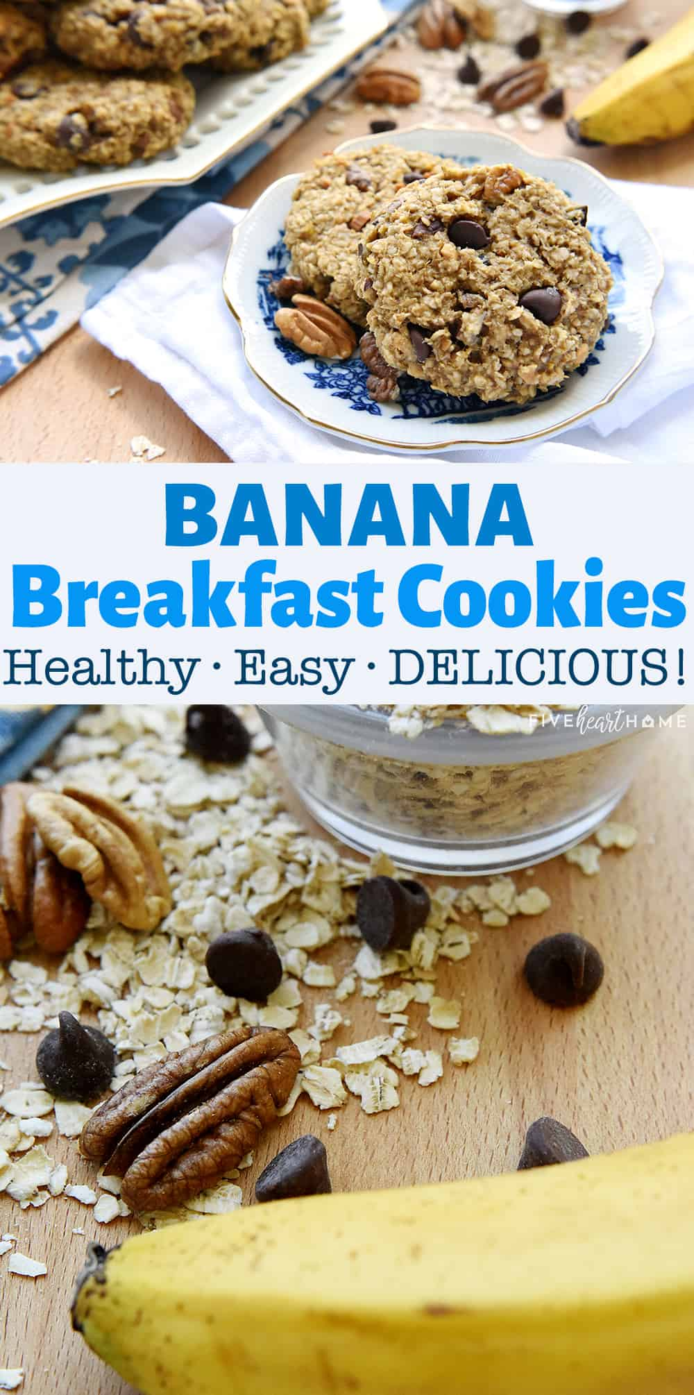 Banana Breakfast Cookies ~ these healthy banana oatmeal cookies make a wholesome, yummy breakfast on-the-go that's naturally sweetened, gluten-free, and perfect for using up ripe bananas! | FiveHeartHome.com via @fivehearthome