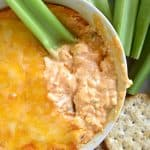 Buffalo Chicken Dip ~ warm, creamy, and loaded with cheese, chicken, and wing sauce, this decadent appetizer is perfect for parties or ideal for game day tailgating! | FiveHeartHome.com