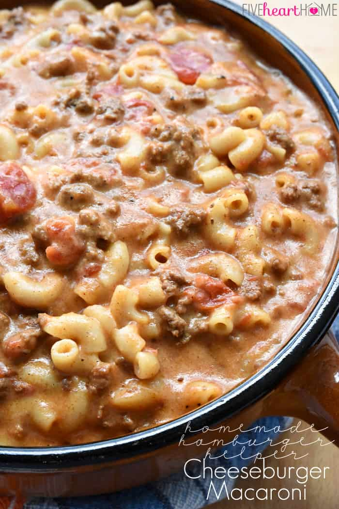 Homemade Cheeseburger Macaroni ~a creamy, flavorful, all-natural, copycat of the Hamburger Helper classic, with an easy, from-scratch cheese sauce that puts it over the top! | FiveHeartHome.com