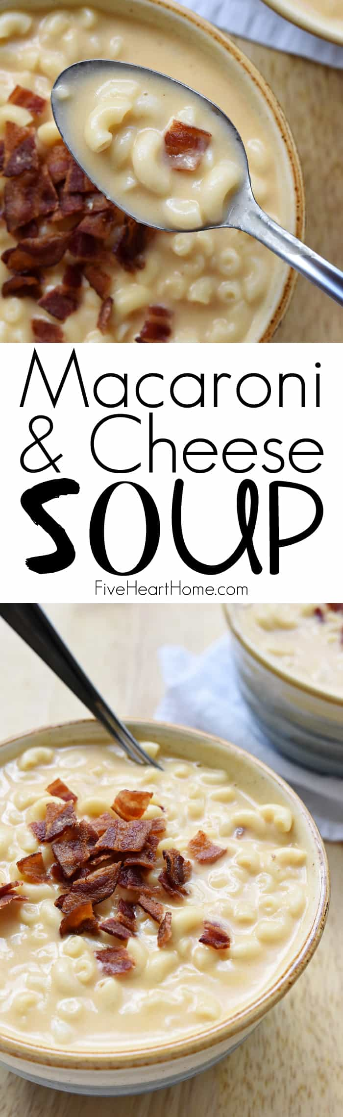 Macaroni & Cheese Soup Collage with Text Overlay