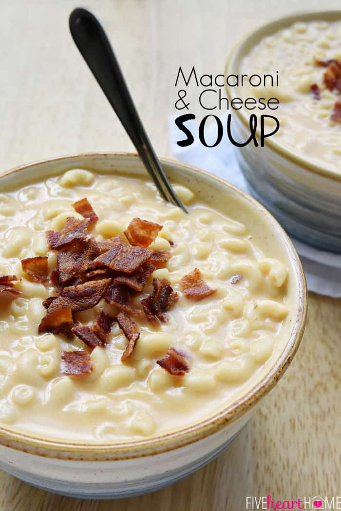 Macaroni & Cheese Soup with Text Overlay