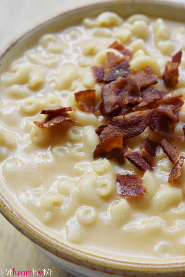 Macaroni & Cheese Soup in Stoneware Bowl with Bacon Garnish