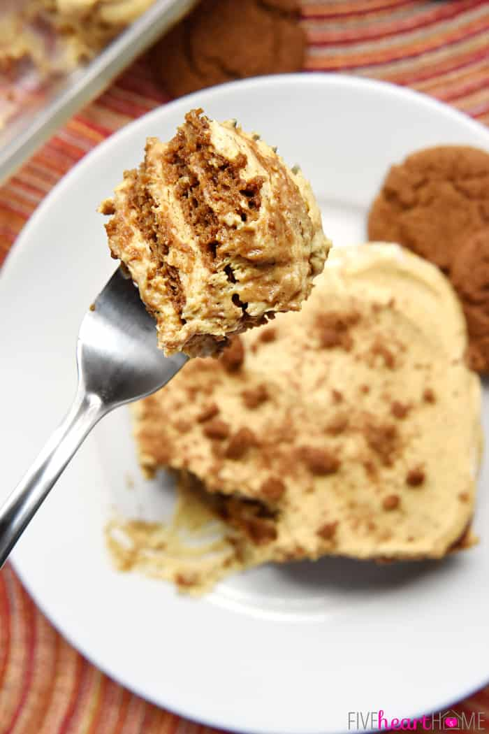Bite of Pumpkin Icebox Cake on a fork held over plate