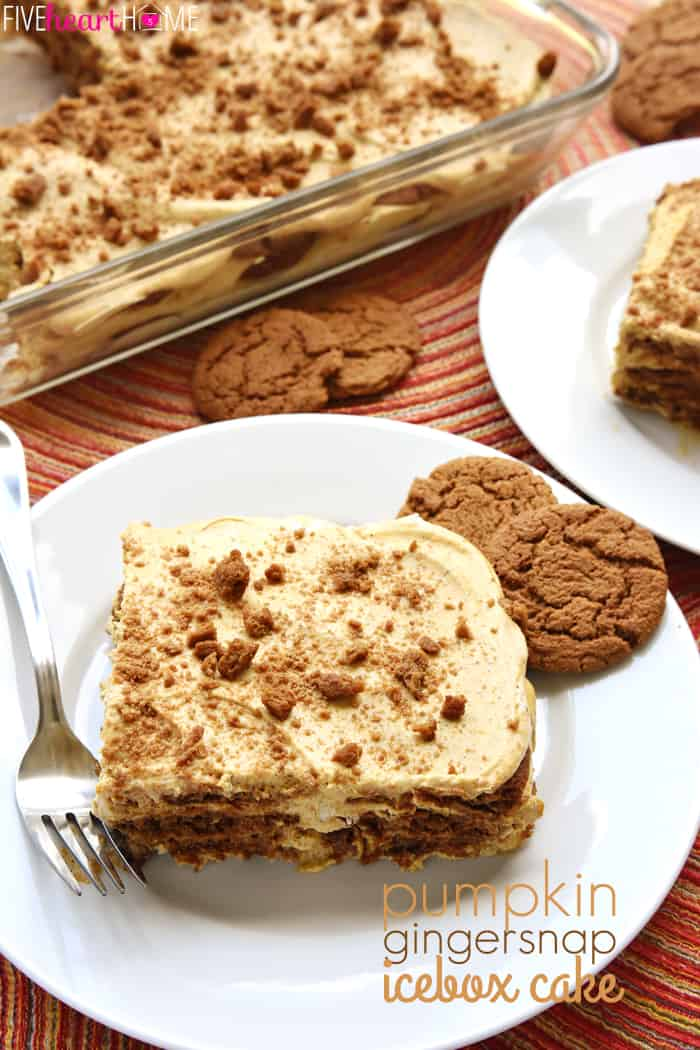 Pumpkin Gingersnap Icebox Cake with text overlay