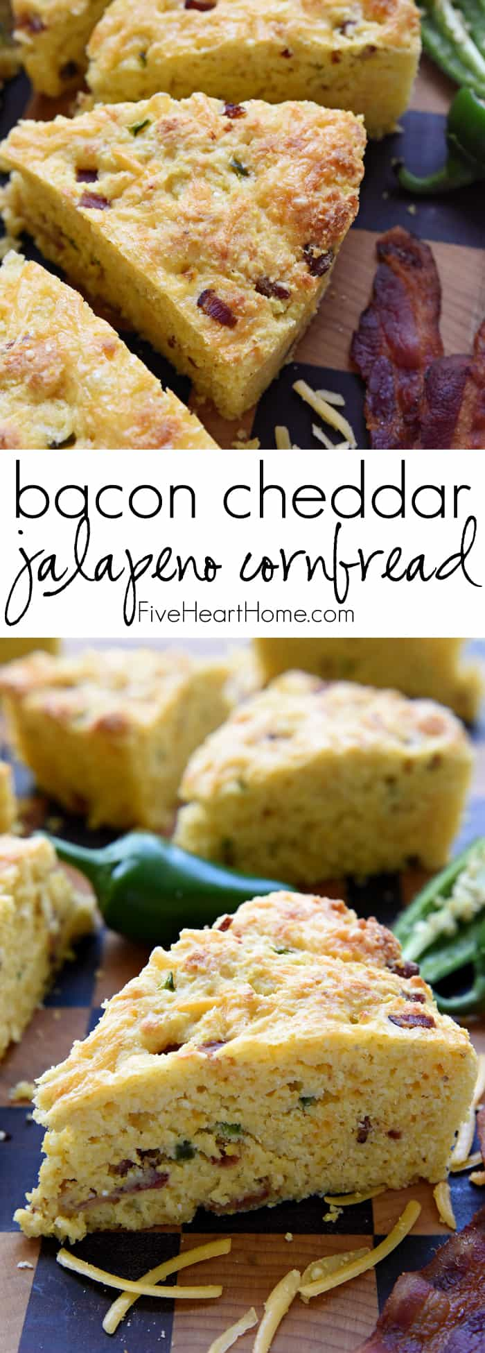 Bacon Cheddar Jalapeño Cornbread Collage with Text Overlay