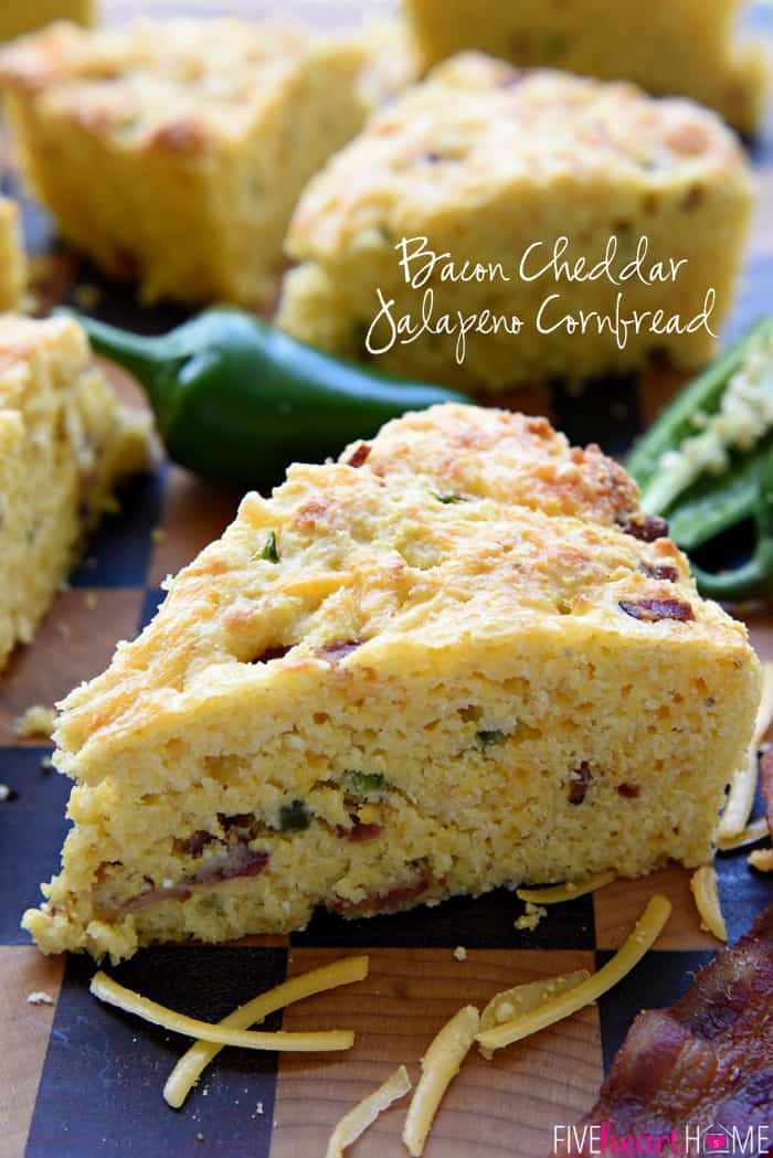 Bacon Cheddar Jalapeño Cornbread with Text Overlay