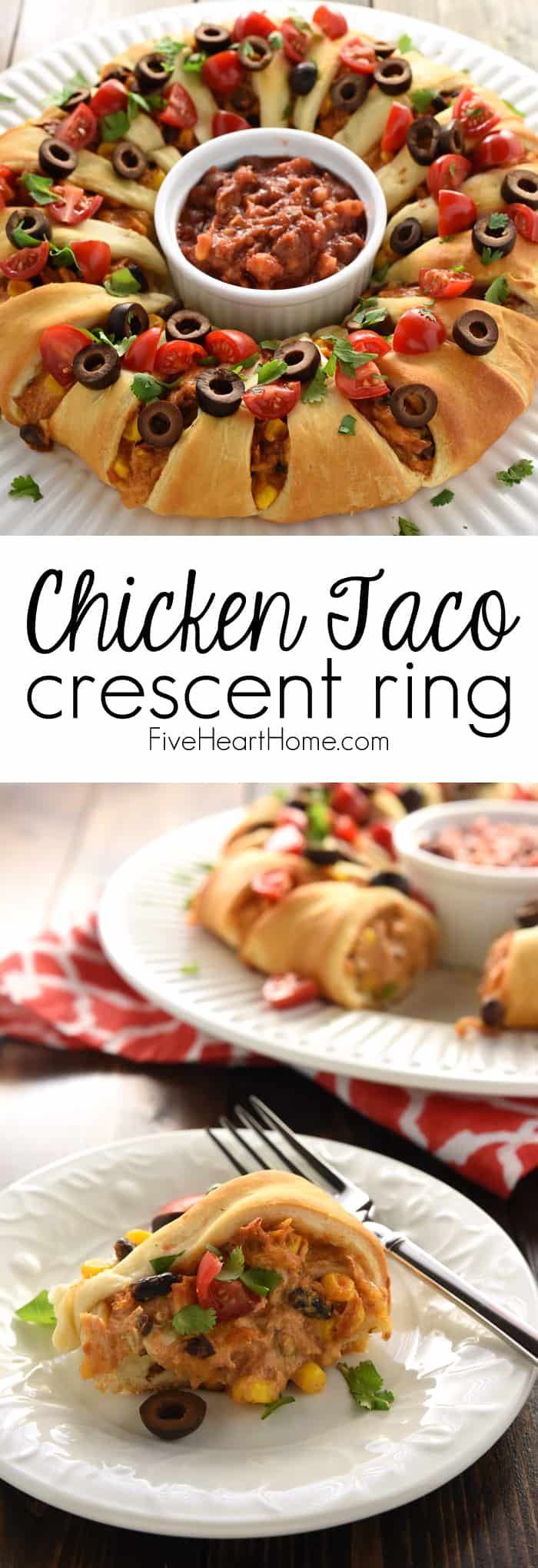 Chicken or Turkey Taco Crescent Ring Collage with Text Overlay