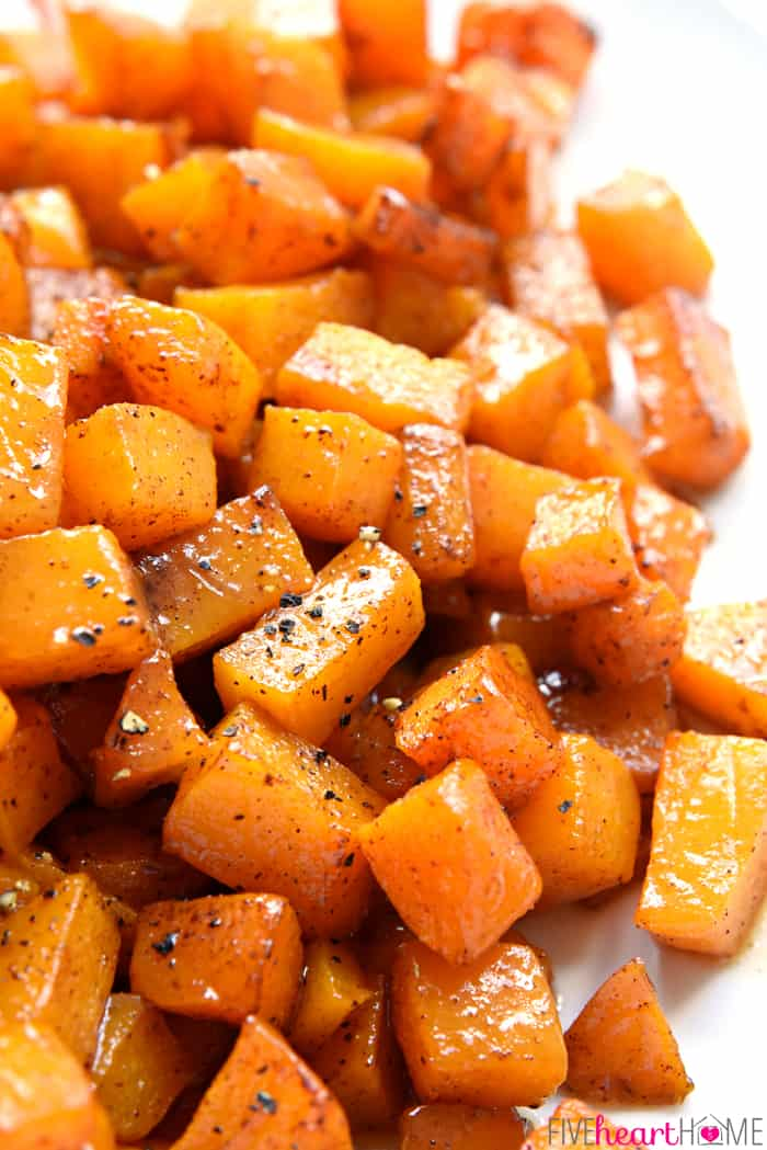 Cinnamon Maple Roasted Squash ~ vitamin-packed butternut squash is coated with coconut oil, maple syrup, and cinnamon, then roasted until tender and sweet for a gorgeous, golden fall or winter side dish! | FiveHeartHome.com