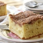 Cream Cheese Coffee Cake ~ swirled with a ribbon of sweet and tangy cream cheese filling and topped with a buttery, cinnamon streusel topping, making it a perfect breakfast, brunch, or coffee time treat! | FiveHeartHome.com