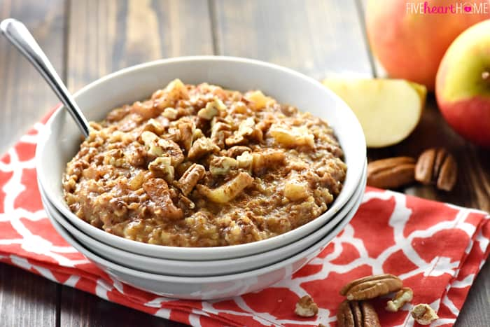 {Overnight} Slow Cooker Apple Pie Steel Cut Oatmeal {with ...