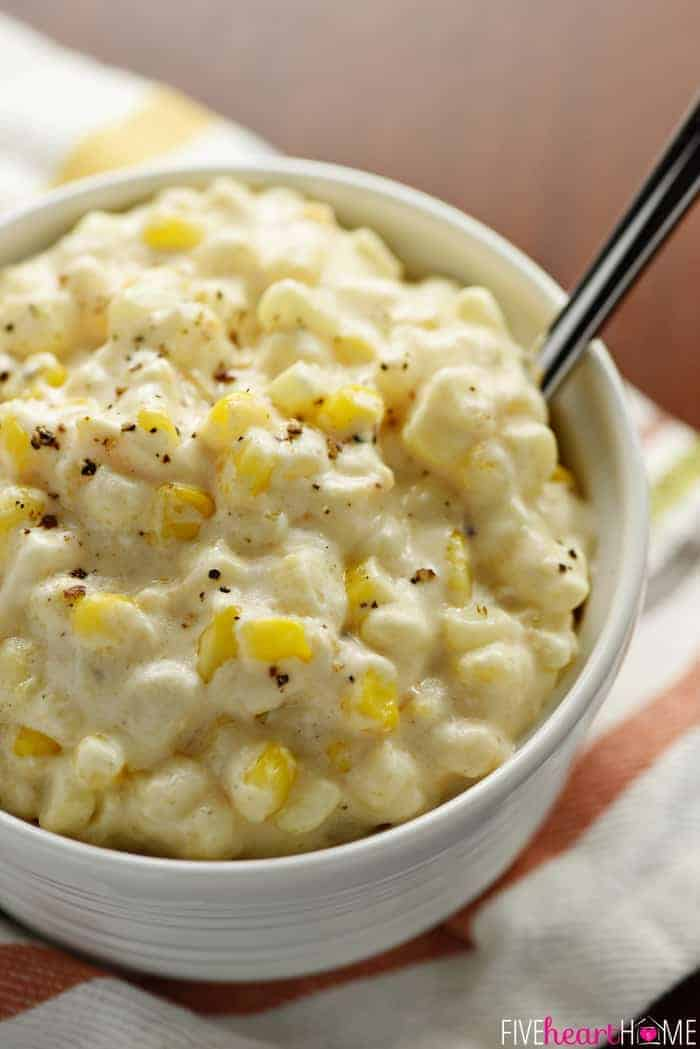 Slow Cooker Creamy Cheesy Corn ~ a rich, comforting side dish that's the perfect addition to any holiday menu...because not only is this recipe delicious, but it also frees up the stove and oven! | FiveHeartHome.com