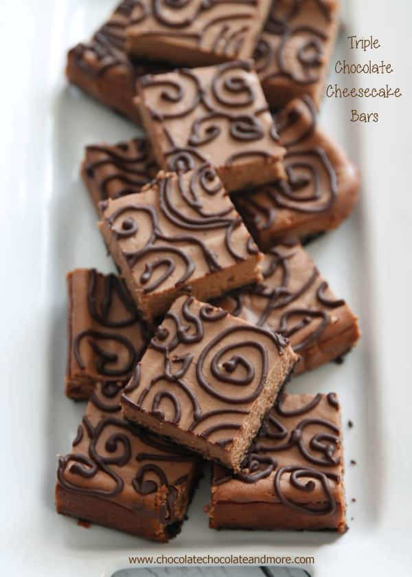 Triple Chocolate Cheesecake Bars | ChocolateChocolateAndMore.com