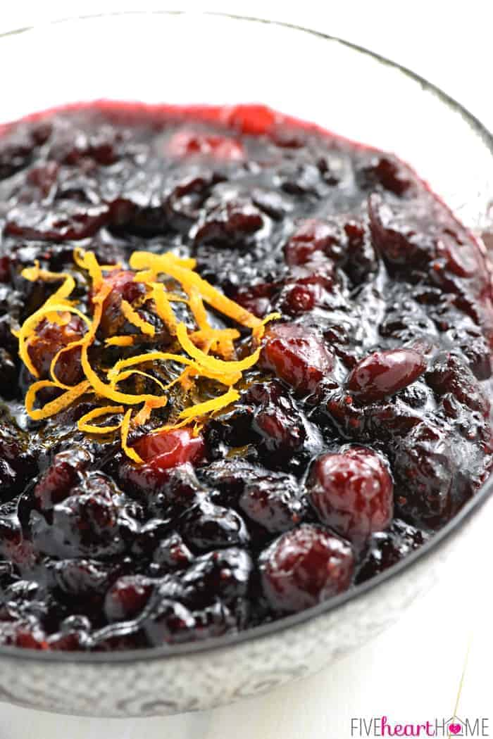Cranberry sauce recipe made with cherry preserves and orange.