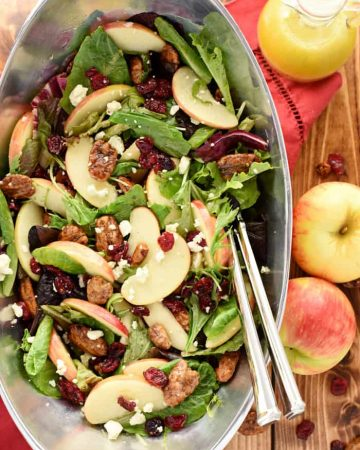 Holiday Honeycrisp Salad ~ this gorgeous Christmas salad or Thanksgiving salad is full of flavor and texture, with fresh apple slices, crunchy toasted pecans, chewy dried cranberries, zippy blue cheese, and a tangy-sweet apple cider vinaigrette! | FiveHeartHome.com #christmassalad #thanksgivingsalad